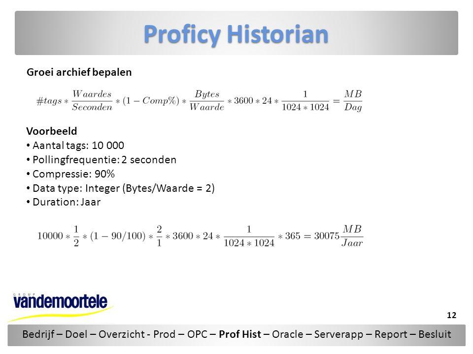 Proficy Historian Groei archief bepalen Voorbeeld • Aantal tags: 10 000 • Pollingfrequentie: 2 seconden • Compressie: 90% • Data type: Integer (Bytes/