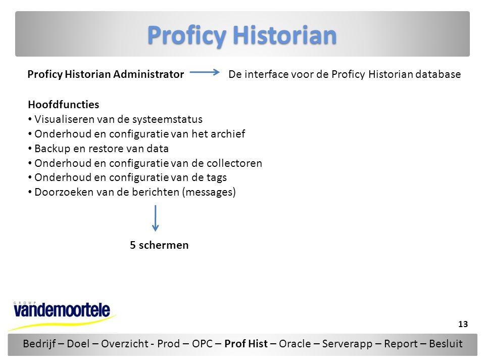 Proficy Historian Proficy Historian Administrator Hoofdfuncties • Visualiseren van de systeemstatus • Onderhoud en configuratie van het archief • Back