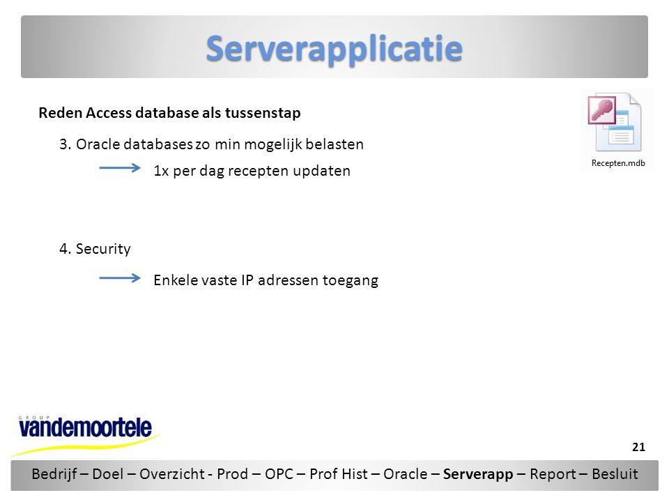 Serverapplicatie Reden Access database als tussenstap 3. Oracle databases zo min mogelijk belasten 4. Security 1x per dag recepten updaten Enkele vast