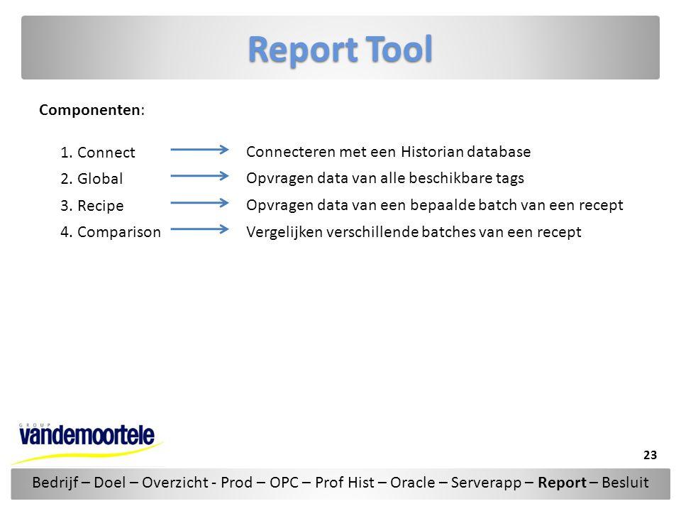 Report Tool Componenten: 1. Connect 2. Global 3. Recipe 4. Comparison Connecteren met een Historian database Opvragen data van alle beschikbare tags O