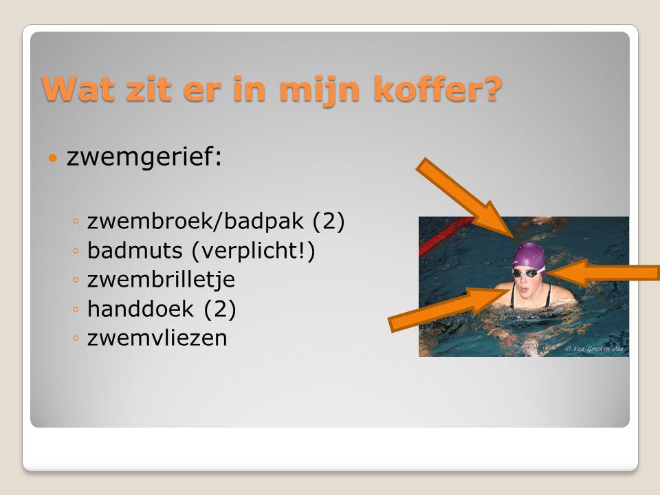 Wat zit er in mijn koffer?  zwemgerief: ◦zwembroek/badpak (2) ◦badmuts (verplicht!) ◦zwembrilletje ◦handdoek (2) ◦zwemvliezen