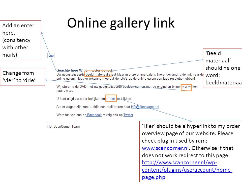 Online gallery link 'Hier' should be a hyperlink to my order overview page of our website.