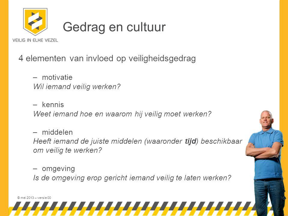 © mei 2013 – versie 00 Gedrag en cultuur 4 elementen van invloed op veiligheidsgedrag –motivatie Wil iemand veilig werken.