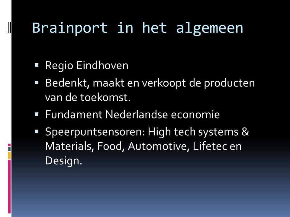 Brainport in het algemeen  Regio Eindhoven  Bedenkt, maakt en verkoopt de producten van de toekomst.  Fundament Nederlandse economie  Speerpuntsen