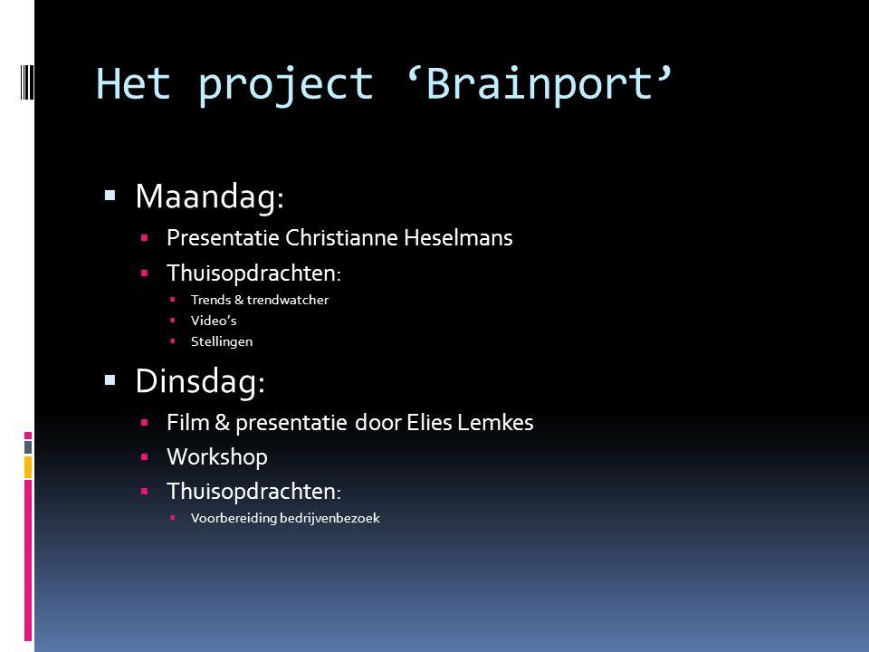 Het project 'Brainport'  Maandag:  Presentatie Christianne Heselmans  Thuisopdrachten:  Trends & trendwatcher  Video's  Stellingen  Dinsdag: 