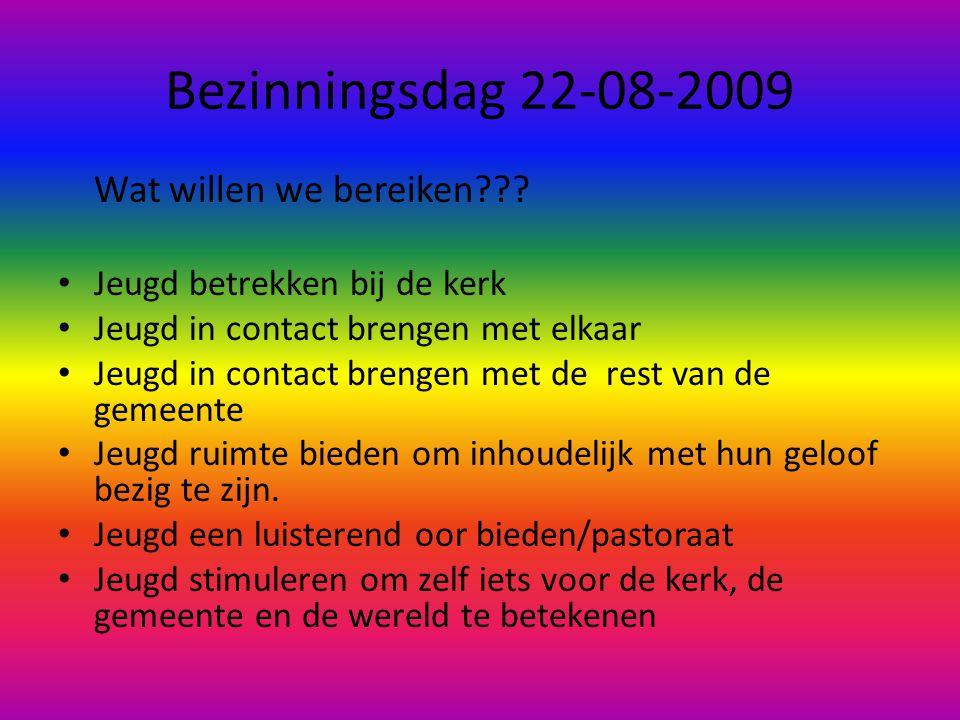 Bezinningsdag 22-08-2009 Wat willen we bereiken??? • Jeugd betrekken bij de kerk • Jeugd in contact brengen met elkaar • Jeugd in contact brengen met