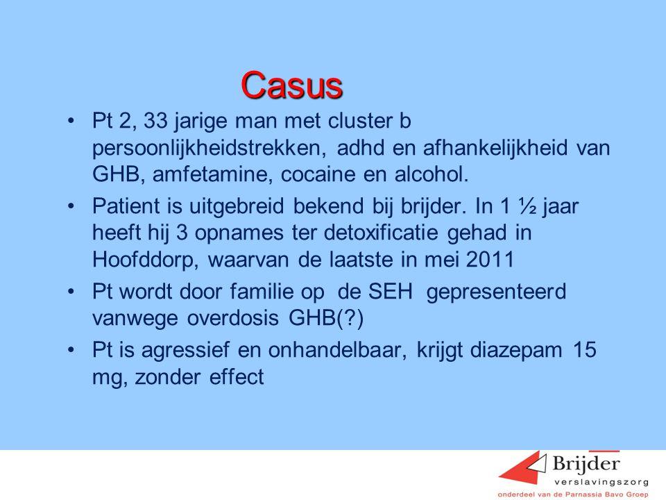 Casus •Pt 2, 33 jarige man met cluster b persoonlijkheidstrekken, adhd en afhankelijkheid van GHB, amfetamine, cocaine en alcohol. •Patient is uitgebr