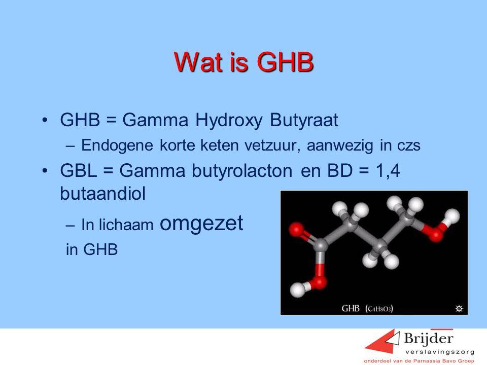 Wat is GHB •GHB = Gamma Hydroxy Butyraat –Endogene korte keten vetzuur, aanwezig in czs •GBL = Gamma butyrolacton en BD = 1,4 butaandiol –In lichaam o