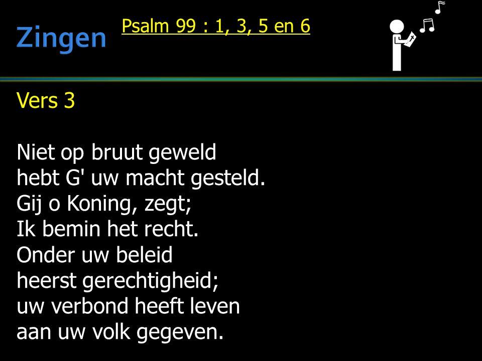 Vers 3 Niet op bruut geweld hebt G' uw macht gesteld. Gij o Koning, zegt; Ik bemin het recht. Onder uw beleid heerst gerechtigheid; uw verbond heeft l