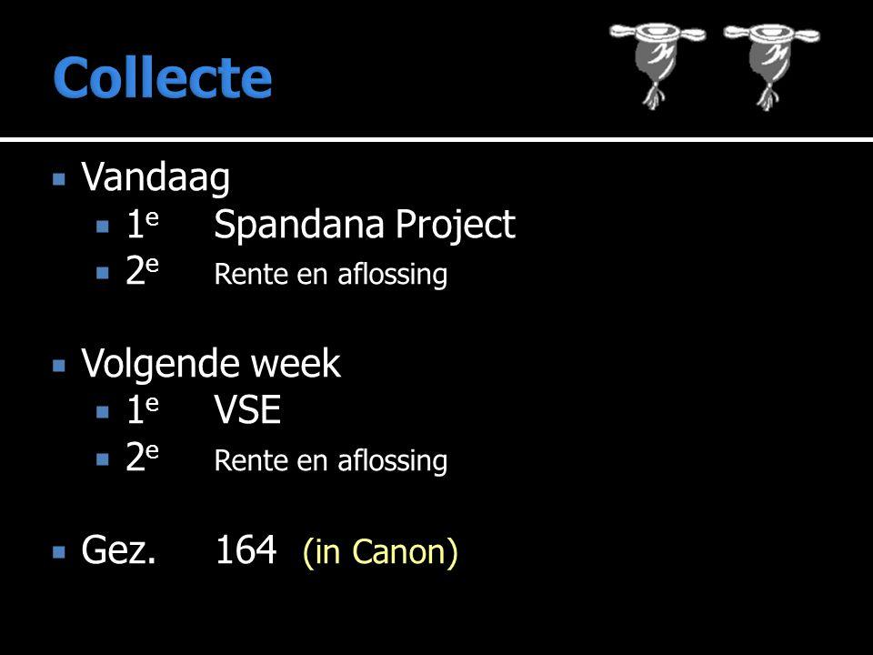  Vandaag  1 e Spandana Project  2 e Rente en aflossing  Volgende week  1 e VSE  2 e Rente en aflossing  Gez. 164 (in Canon)