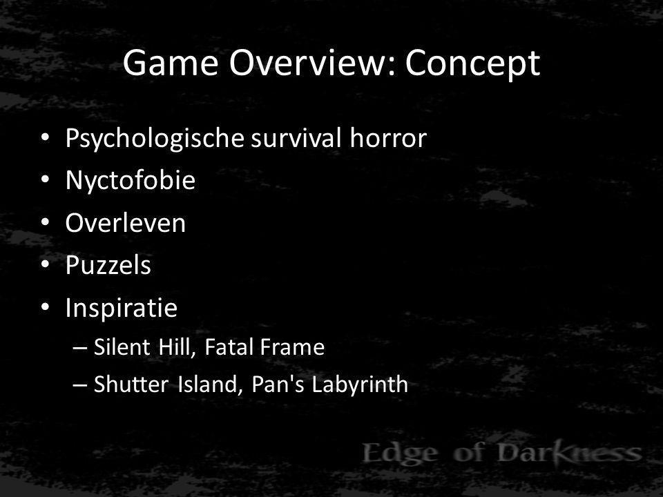 Game Overview: Key Features • Open wereld • Dag-nacht cyclus • Film noir vertelstijl (voice over) • Hartslag als healthbar • Puzzels • Semi-lineaire gameplay • Hallucinaties, psychose • Hartaanval (sterven van schrik)