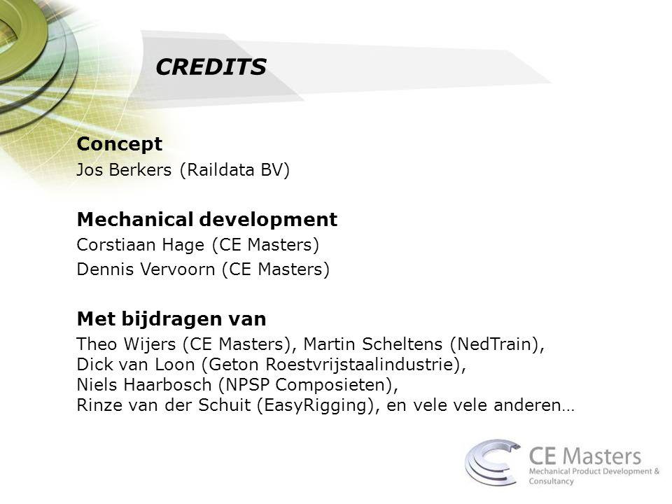 CREDITS Concept Jos Berkers (Raildata BV) Mechanical development Corstiaan Hage (CE Masters) Dennis Vervoorn (CE Masters) Met bijdragen van Theo Wijer