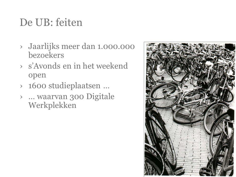 De UB: feiten ›Jaarlijks meer dan 1.000.000 bezoekers ›s'Avonds en in het weekend open ›1600 studieplaatsen … ›… waarvan 300 Digitale Werkplekken