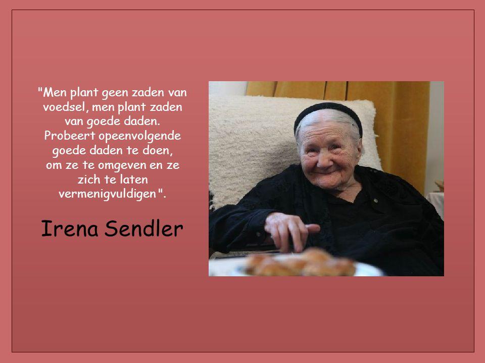 Irena Sendler is sinds jaren aangewezen op een rolstoel te wijten aan folterletsels haar toegebracht door de Gestapo. Zij beschouwt niet zich als een