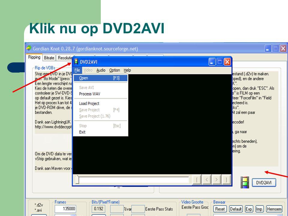 Klik nu op DVD2AVI