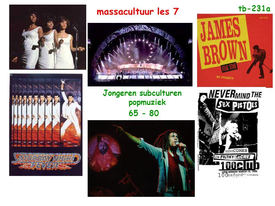 Jongeren subculturen popmuziek 65 - 80 tb-231a massacultuur les 7
