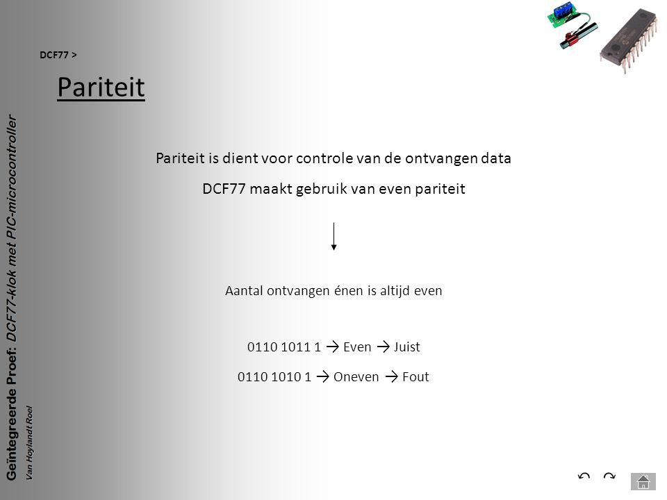 Pariteit DCF77 > ⃕⃔ Pariteit is dient voor controle van de ontvangen data DCF77 maakt gebruik van even pariteit Aantal ontvangen énen is altijd even 0
