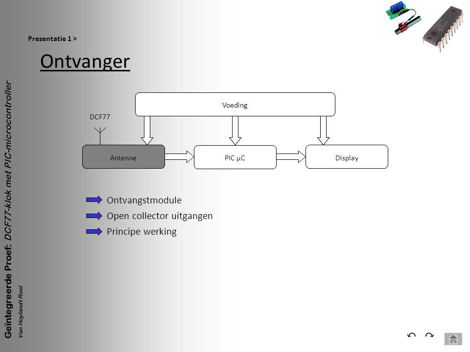 Ontvanger Presentatie 1 > ⃕⃔ Voeding PIC µC Antenne DCF77 Display Ontvangstmodule Open collector uitgangen Principe werking