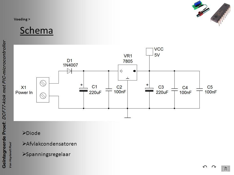 Schema Voeding > ⃕⃔  Diode  Afvlakcondensatoren  Spanningsregelaar