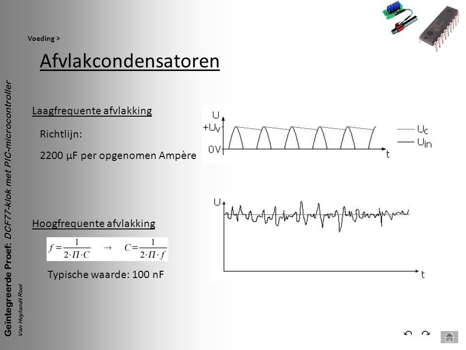 Afvlakcondensatoren Voeding > ⃕⃔ Laagfrequente afvlakking Richtlijn: 2200 µF per opgenomen Ampère Hoogfrequente afvlakking Typische waarde: 100 nF