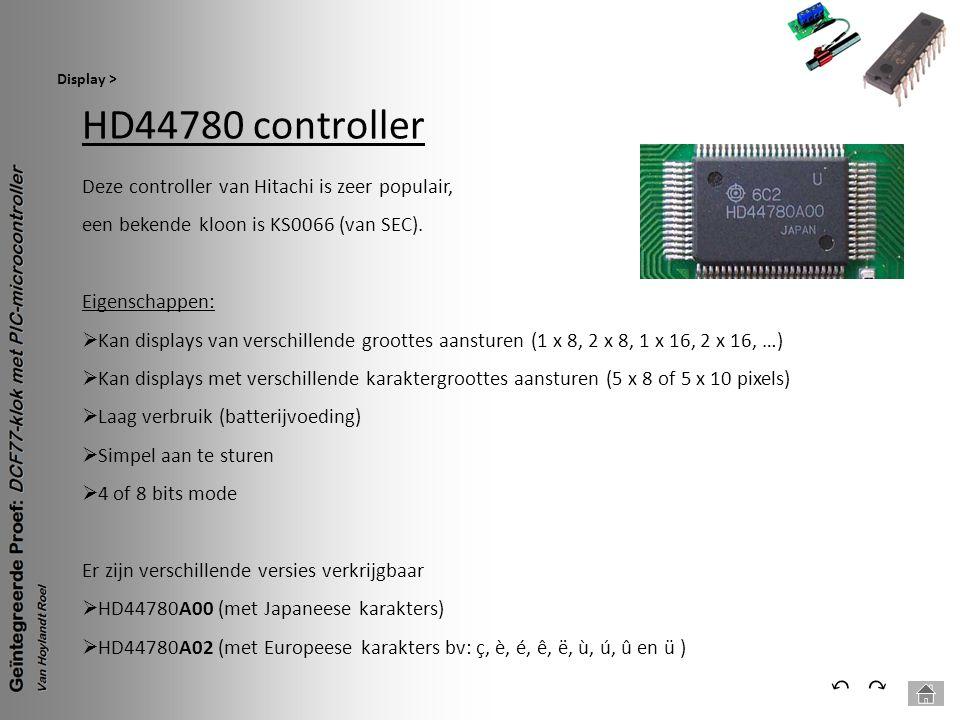 HD44780 controller Display > ⃕⃔ Deze controller van Hitachi is zeer populair, een bekende kloon is KS0066 (van SEC). Eigenschappen:  Kan displays van