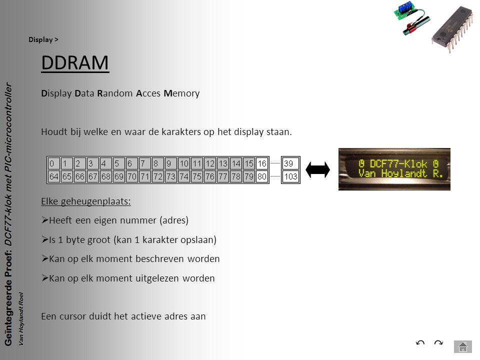 DDRAM Display > ⃕⃔ Display Data Random Acces Memory Houdt bij welke en waar de karakters op het display staan. Elke geheugenplaats:  Heeft een eigen