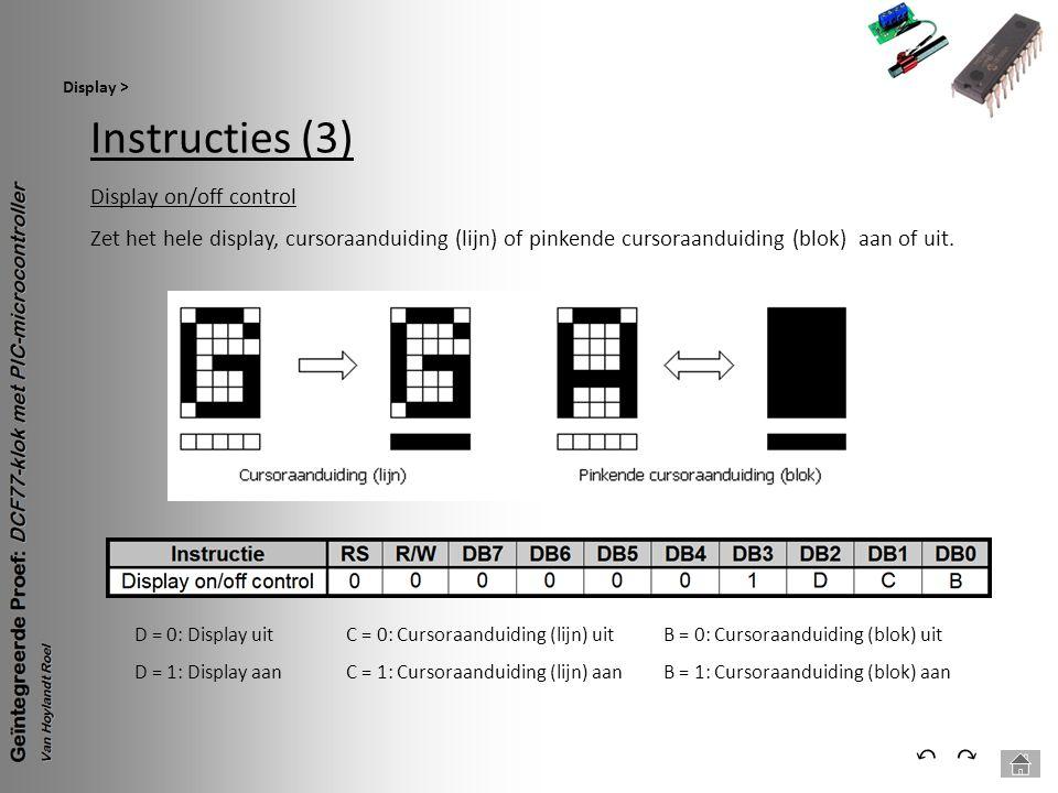 Instructies (3) Display > ⃕⃔ Display on/off control Zet het hele display, cursoraanduiding (lijn) of pinkende cursoraanduiding (blok) aan of uit. D =