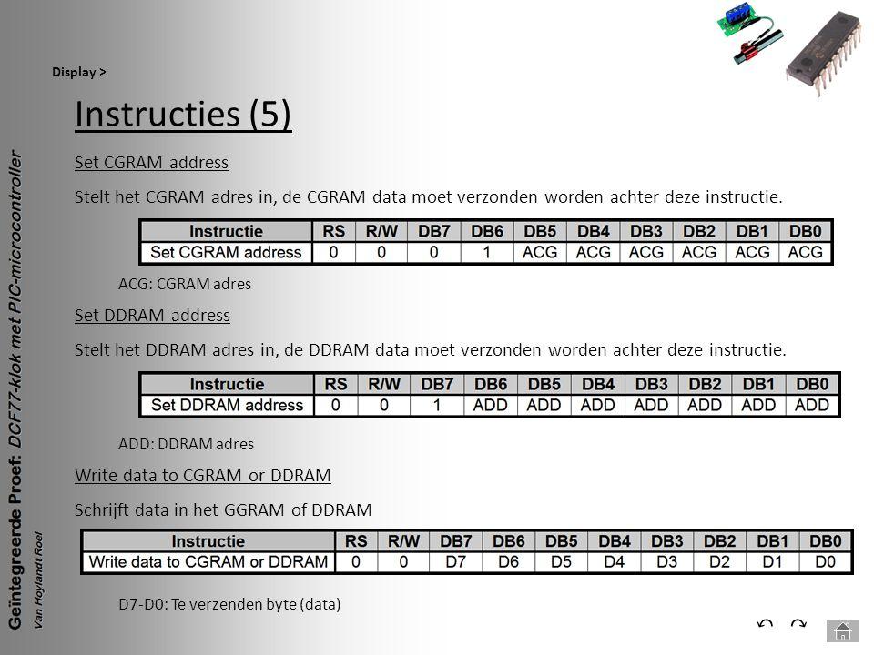 Instructies (5) Display > ⃕⃔ Set CGRAM address Stelt het CGRAM adres in, de CGRAM data moet verzonden worden achter deze instructie. ADD: DDRAM adres