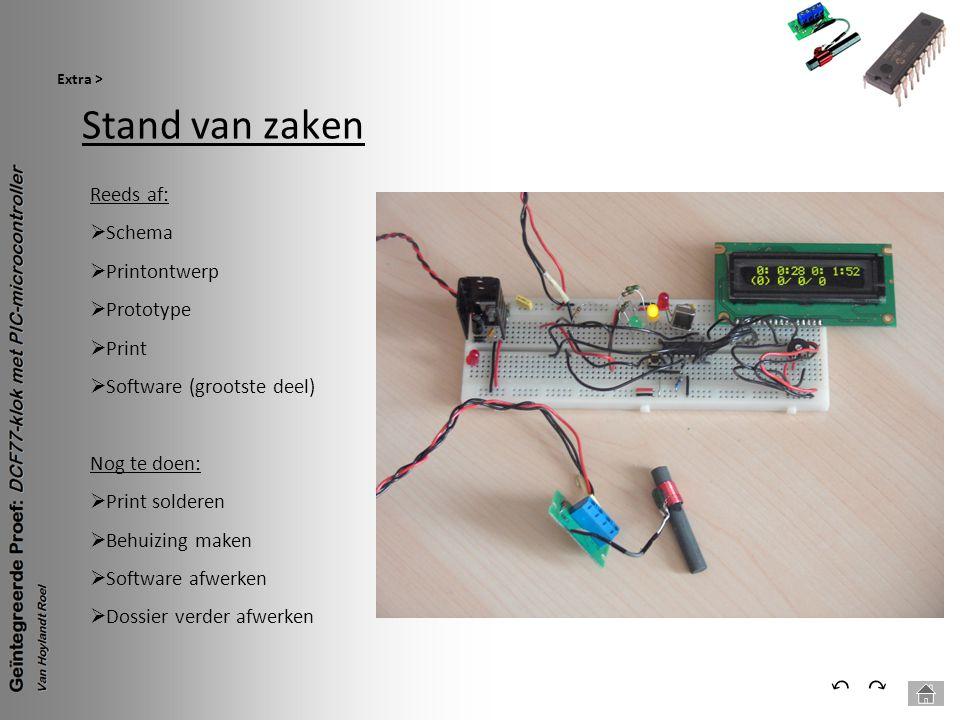 Stand van zaken Extra > ⃕⃔ Reeds af:  Schema  Printontwerp  Prototype  Print  Software (grootste deel) Nog te doen:  Print solderen  Behuizing
