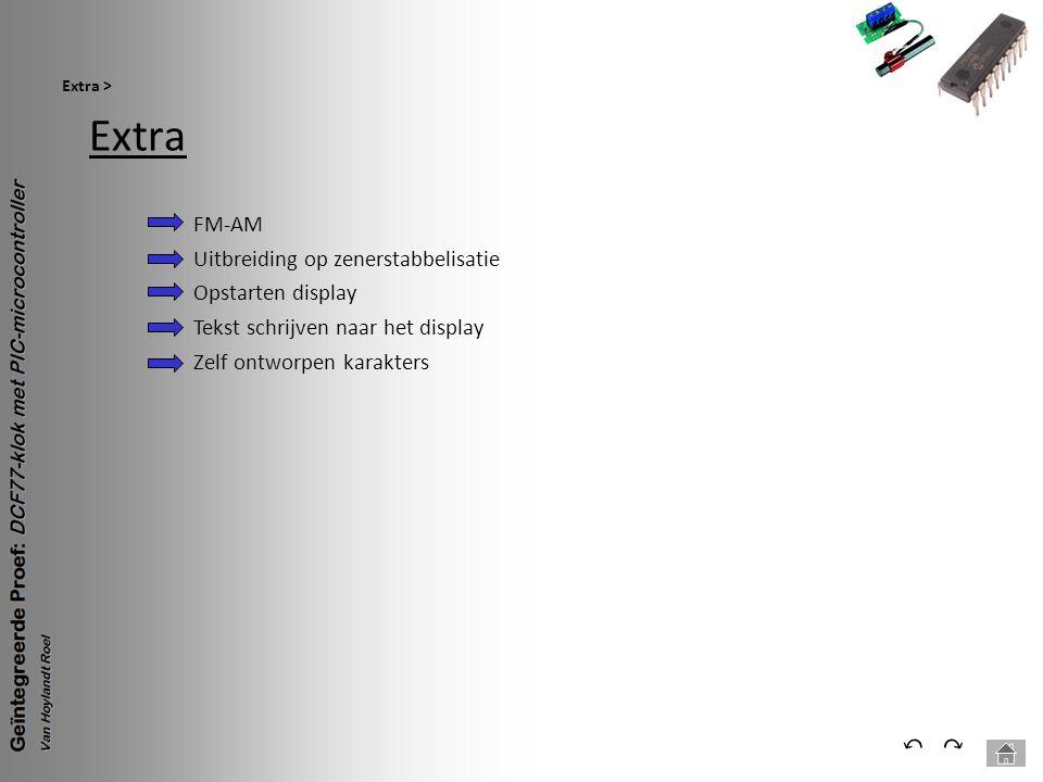 Extra Extra > ⃕⃔ Opstarten display Tekst schrijven naar het display Zelf ontworpen karakters FM-AM Uitbreiding op zenerstabbelisatie