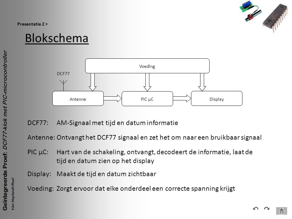 Blokschema Presentatie 2 > ⃕⃔ Voeding PIC µC Antenne DCF77 Display Antenne: Ontvangt het DCF77 signaal en zet het om naar een bruikbaar signaal DCF77: