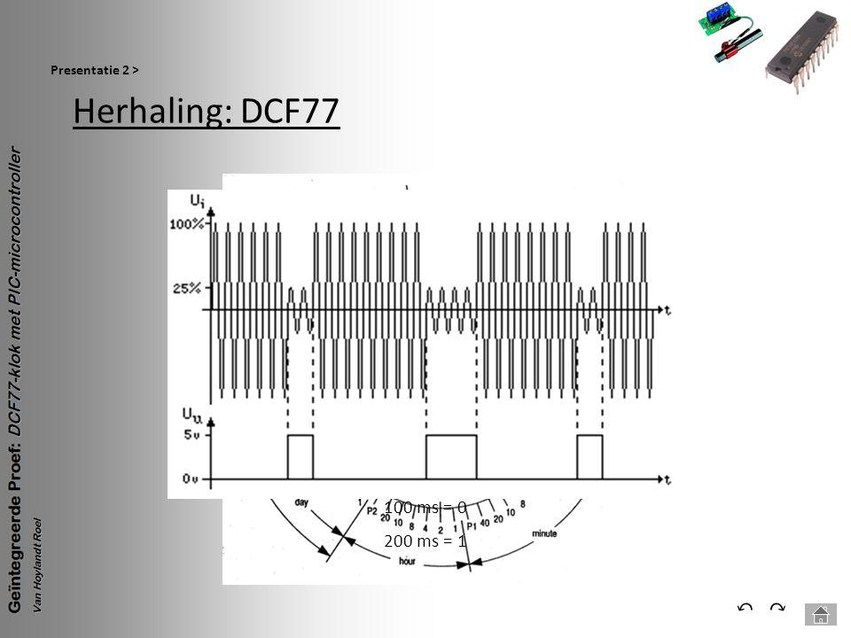 Herhaling: DCF77 Presentatie 2 > ⃕⃔ 100 ms = 0 200 ms = 1
