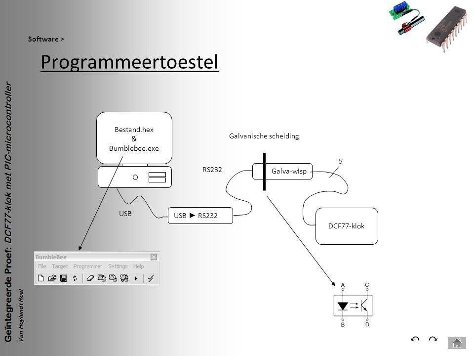 Programmeertoestel Software > ⃕⃔ USB ► RS232 USB RS232 Galva-wisp Galvanische scheiding DCF77-klok 5 Bestand.hex & Bumblebee.exe