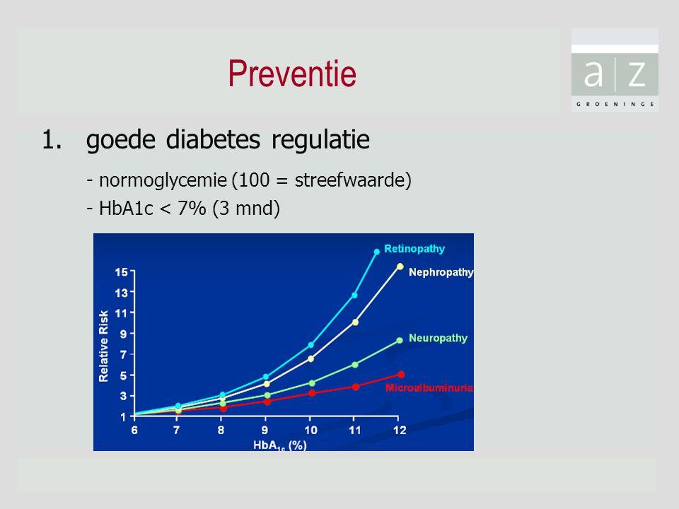 Preventie 1.goede diabetes regulatie - normoglycemie (100 = streefwaarde) - HbA1c < 7% (3 mnd)