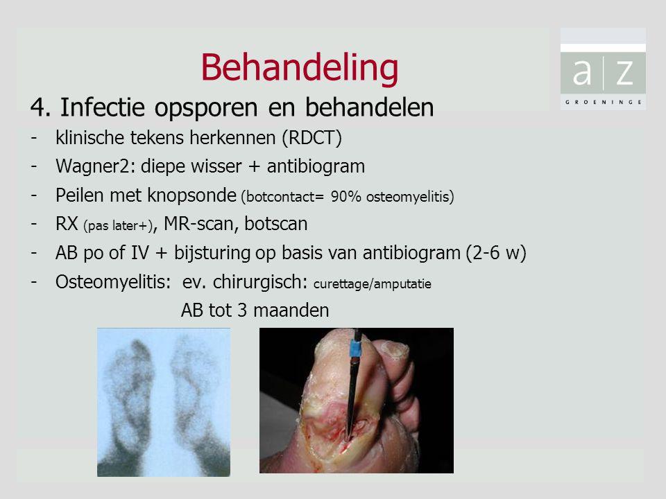 Behandeling 4. Infectie opsporen en behandelen -klinische tekens herkennen (RDCT) -Wagner2: diepe wisser + antibiogram -Peilen met knopsonde (botconta