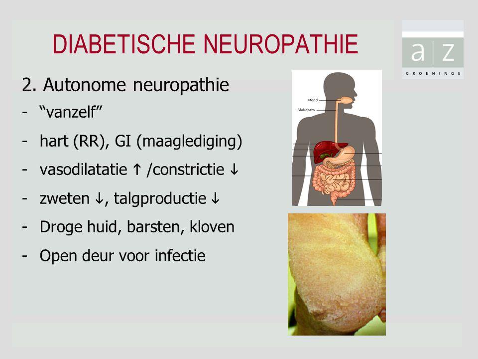 "2. Autonome neuropathie -""vanzelf"" -hart (RR), GI (maaglediging) -vasodilatatie  /constrictie  -zweten , talgproductie  -Droge huid, barsten, klov"