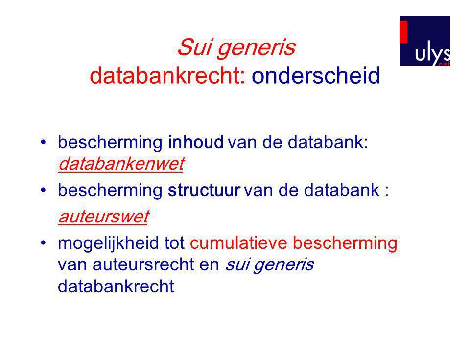 Sui generis databankrecht: onderscheid •bescherming inhoud van de databank: databankenwet •bescherming structuur van de databank : auteurswet •mogelijkheid tot cumulatieve bescherming van auteursrecht en sui generis databankrecht