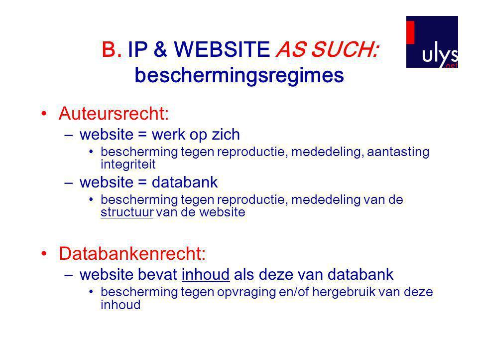 B. IP & WEBSITE AS SUCH: beschermingsregimes •Auteursrecht: –website = werk op zich •bescherming tegen reproductie, mededeling, aantasting integriteit