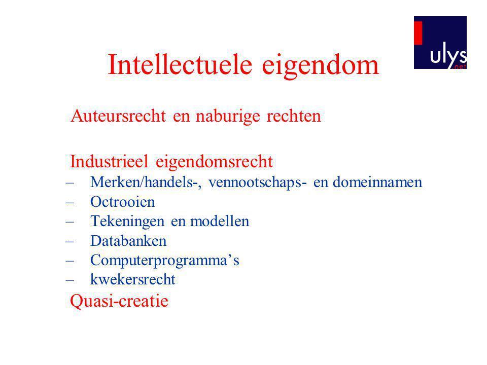 Intellectuele eigendom Auteursrecht en naburige rechten Industrieel eigendomsrecht –Merken/handels-, vennootschaps- en domeinnamen –Octrooien –Tekenin