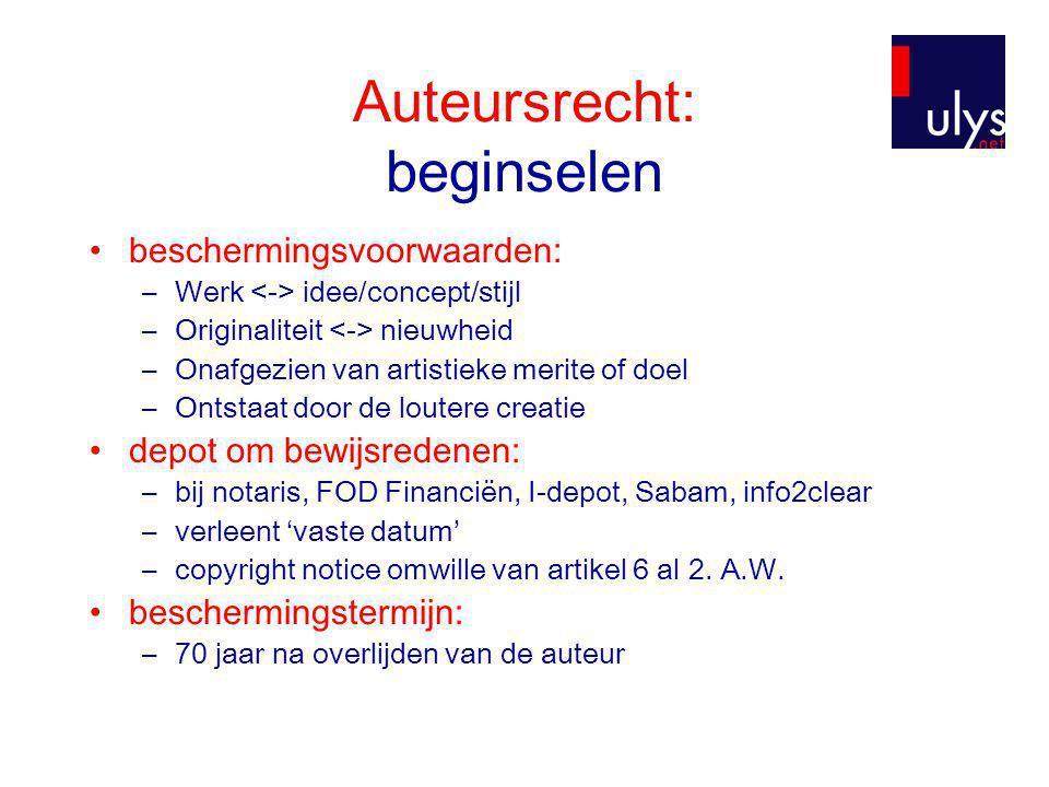 Auteursrecht: beginselen •Wie.-Scheppende kunstenaar - fysiek persoon (art.