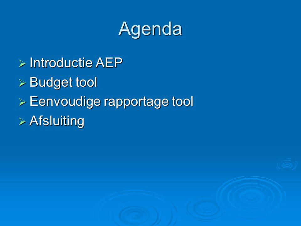 Agenda  Introductie AEP  Budget tool  Eenvoudige rapportage tool  Afsluiting
