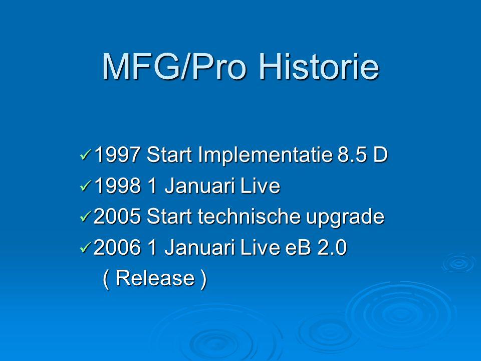 MFG/Pro Historie  1997 Start Implementatie 8.5 D  1998 1 Januari Live  2005 Start technische upgrade  2006 1 Januari Live eB 2.0 ( Release ) ( Release )