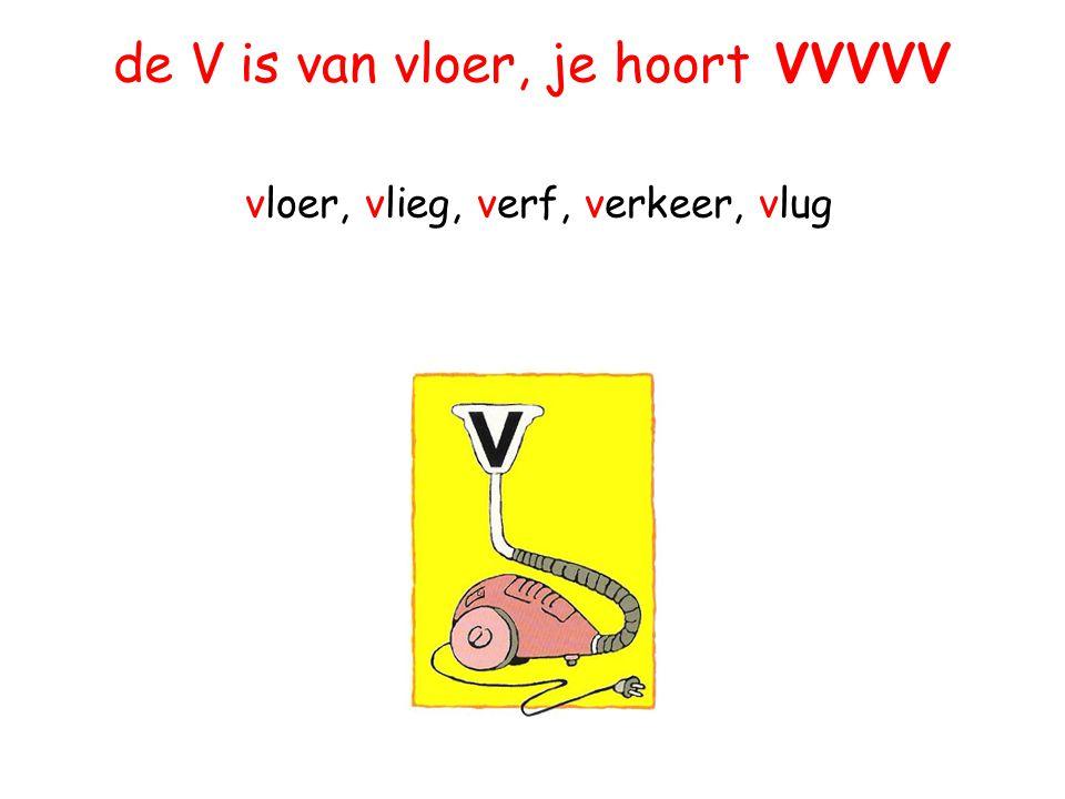 de V is van vloer, je hoort VVVVV vloer, vlieg, verf, verkeer, vlug