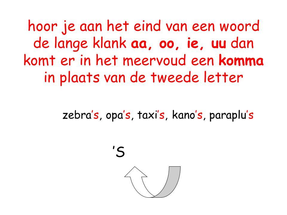 hoor je aan het eind van een woord de lange klank aa, oo, ie, uu dan komt er in het meervoud een komma in plaats van de tweede letter zebra's, opa's,