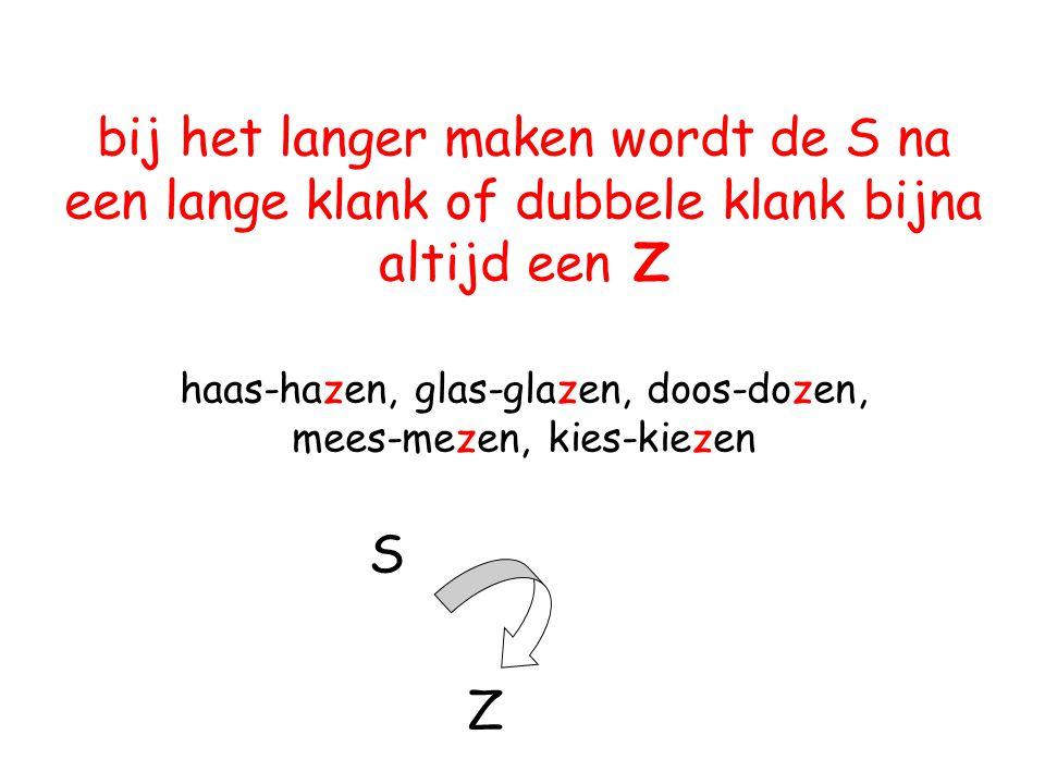 bij het langer maken wordt de S na een lange klank of dubbele klank bijna altijd een Z haas-hazen, glas-glazen, doos-dozen, mees-mezen, kies-kiezen S