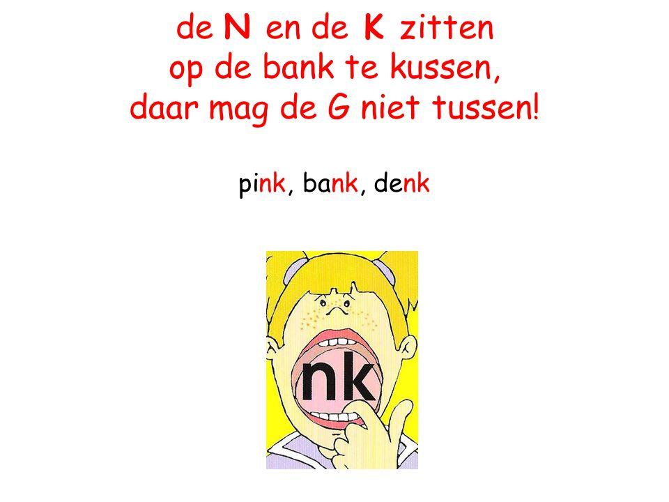 de N en de K zitten op de bank te kussen, daar mag de G niet tussen! pink, bank, denk