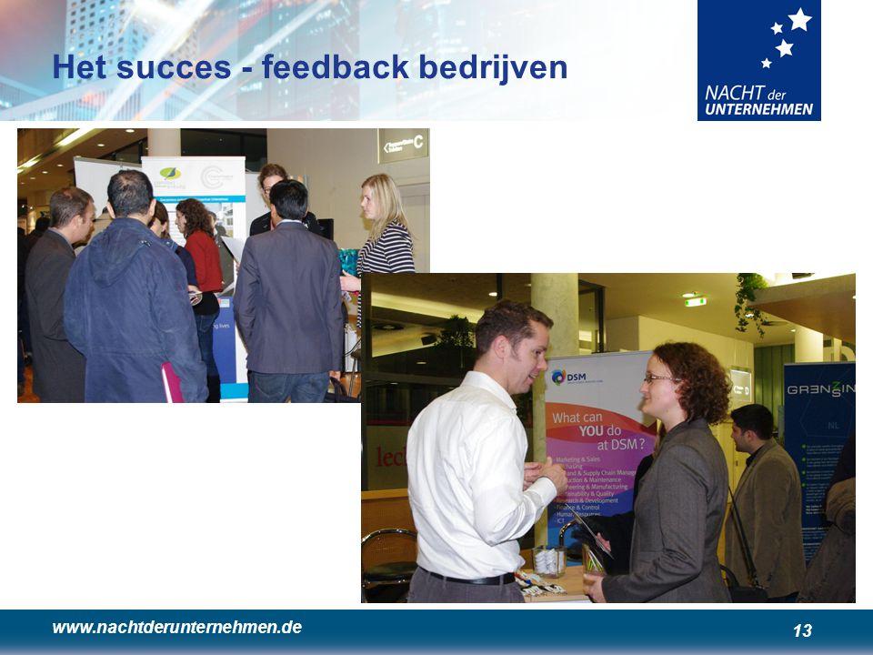 www.nachtderunternehmen.de 13 Het succes - feedback bedrijven