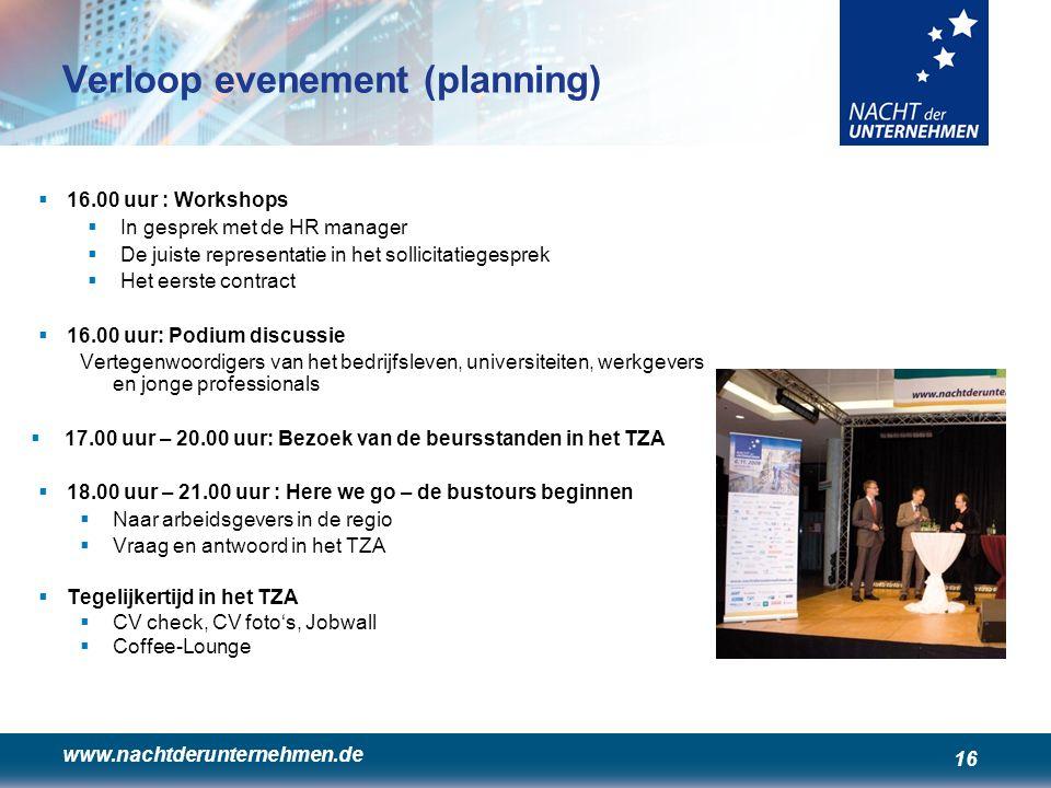 www.nachtderunternehmen.de 16 Verloop evenement (planning)  16.00 uur : Workshops  In gesprek met de HR manager  De juiste representatie in het sol