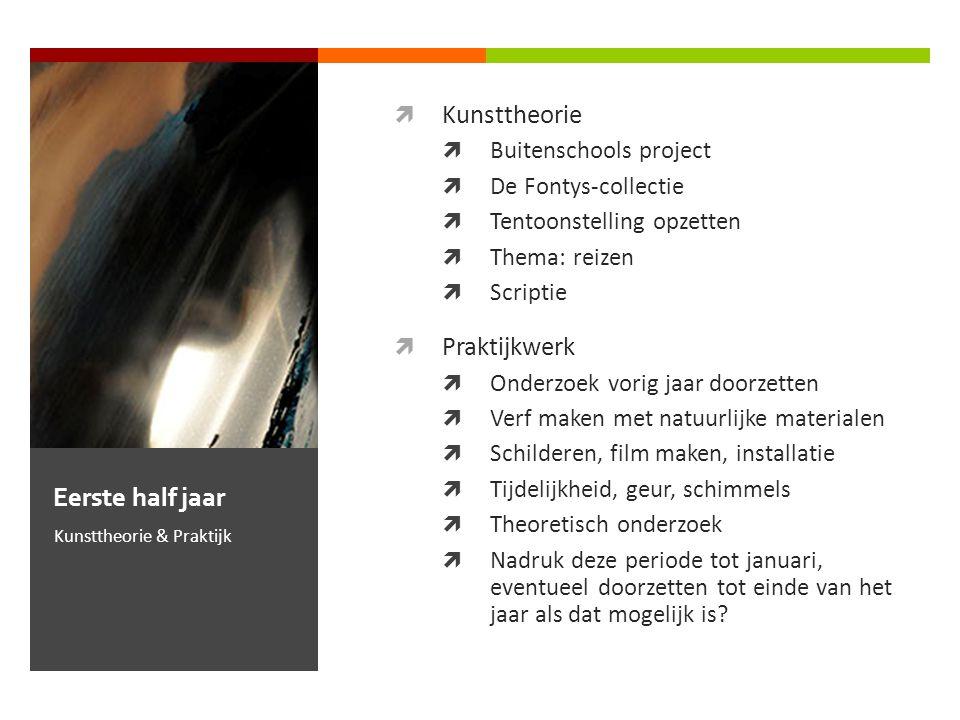  Kunsttheorie  Buitenschools project  De Fontys-collectie  Tentoonstelling opzetten  Thema: reizen  Scriptie  Praktijkwerk  Onderzoek vorig ja