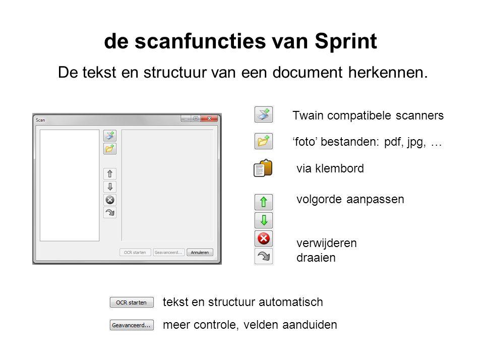de scanfuncties van Sprint De tekst en structuur van een document herkennen.